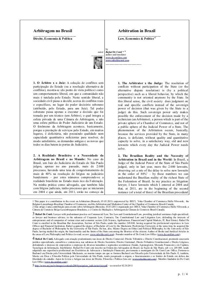Arbitragem no Brasil                                                                     Arbitration in Brazil____________...