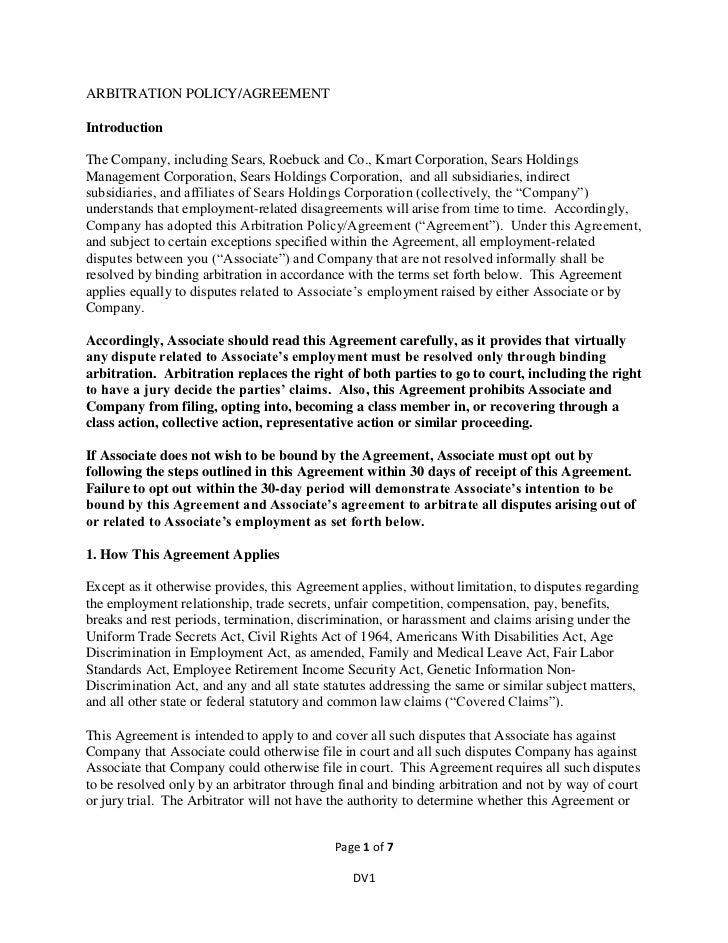 Arbitration policyagreementen