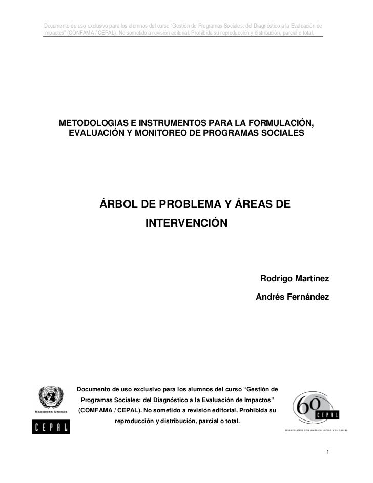 """Documento de uso exclusivo para los alumnos del curso """"Gestión de Programas Sociales: del Diagnóstico a la Evaluación deIm..."""