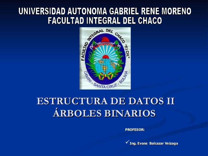 ESTRUCTURA DE DATOS II ÁRBOLES BINARIOS  UNIVERSIDAD AUTONOMA GABRIEL RENE MORENO FACULTAD INTEGRAL DEL CHACO <ul><li>PROF...