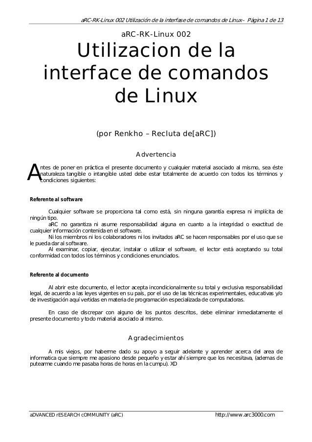 aRC-RK-Linux 002 Utilización de la interfase de comandos de Linux– Página 1 de 13  aRC-RK-Linux 002  Utilizacion de la int...