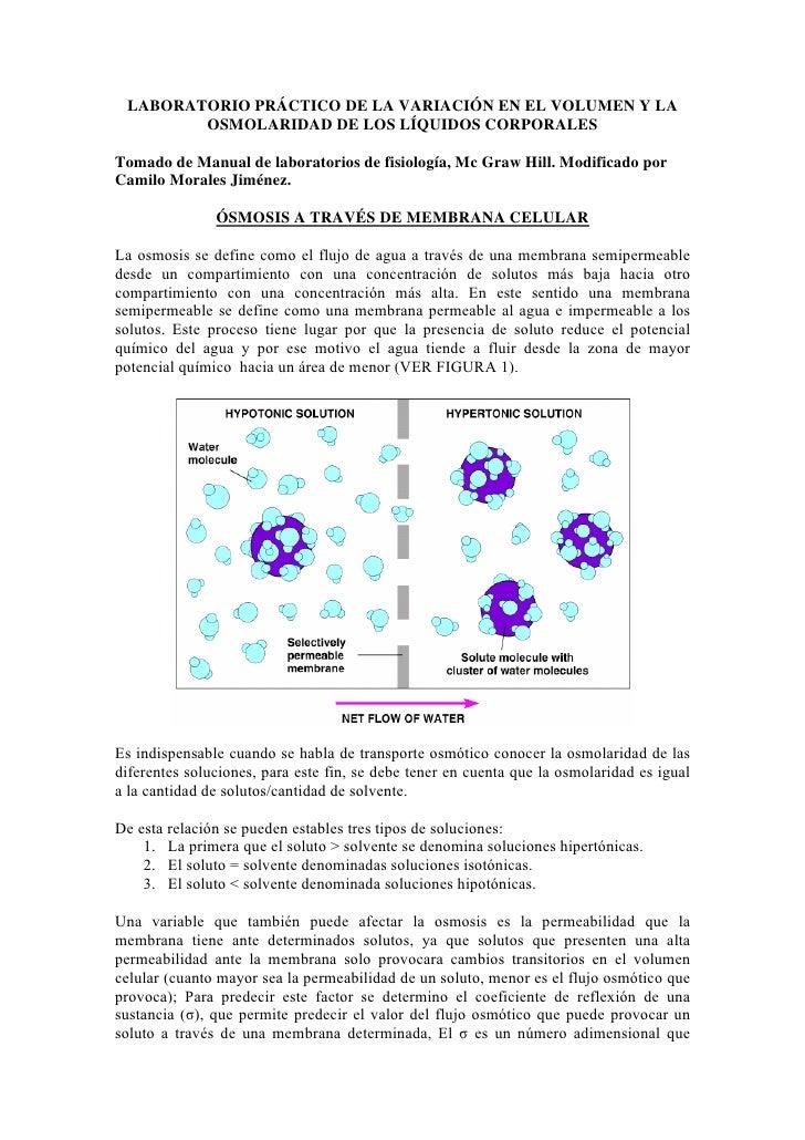 LABORATORIO PRÁCTICO DE LA VARIACIÓN EN EL VOLUMEN Y LA        OSMOLARIDAD DE LOS LÍQUIDOS CORPORALESTomado de Manual de l...