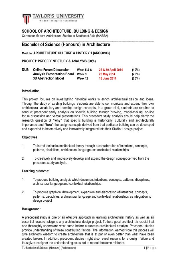 TU Bachelor of Science (Honours) (Architecture) 1 | P a g e SCHOOL OF ARCHITECTURE, BUILDING & DESIGN Centre for Modern Ar...