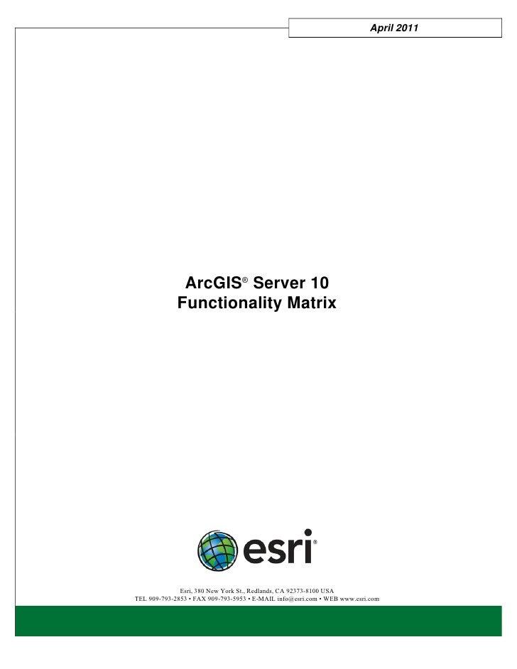 April 2011              ArcGIS® Server 10             Functionality Matrix              Esri, 380 New York St., Redlands, ...