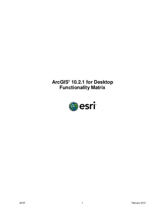 ArcGIS 10.2.1 for Desktop Functionality Matrix