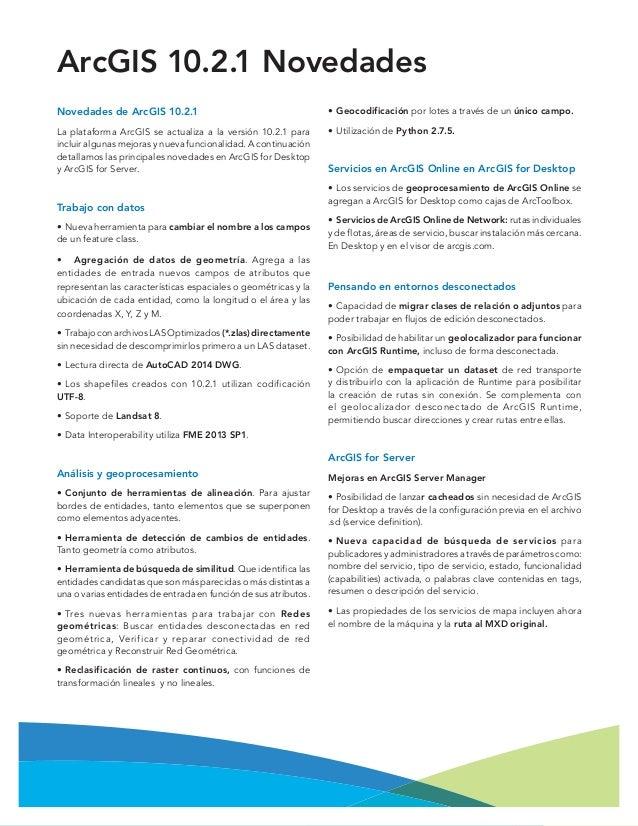Novedades ArcGIS 10.2.1