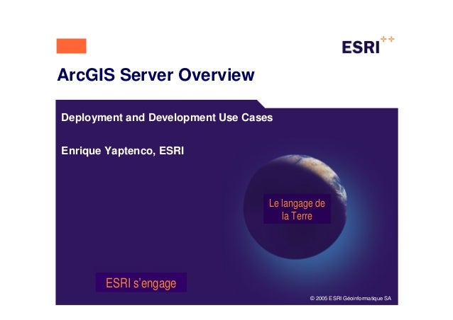 ArcGIS Server OverviewDeployment and Development Use CasesEnrique Yaptenco, ESRI                                   Le lang...