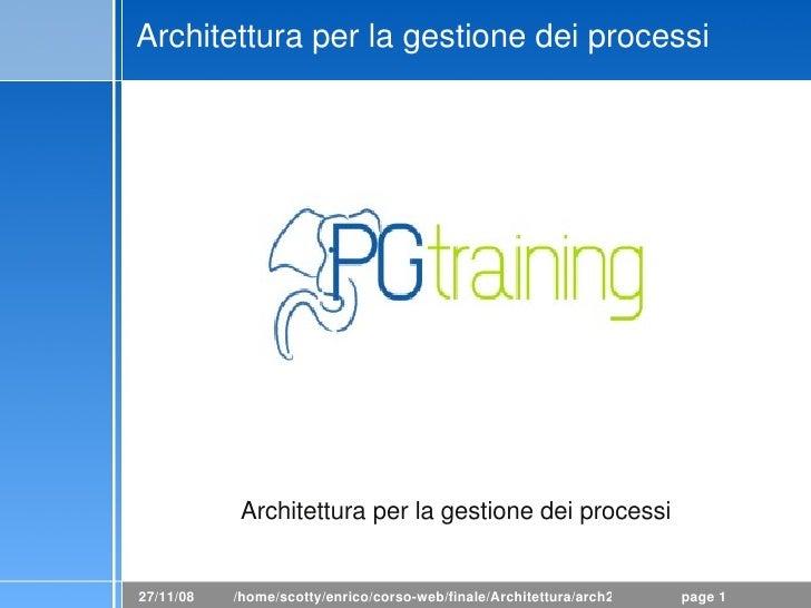 PostgreSQL: Archtettura per la gestione dei pro