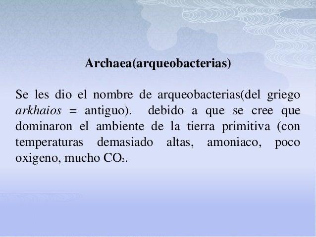 Archaea(arqueobacterias) Se les dio el nombre de arqueobacterias(del griego arkhaios = antiguo). debido a que se cree que ...