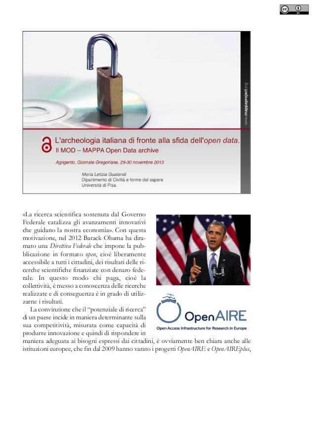 L'archeologia italiana di fronte alla sfida dell'open data. Il MOD - MAPPA Open Data archive