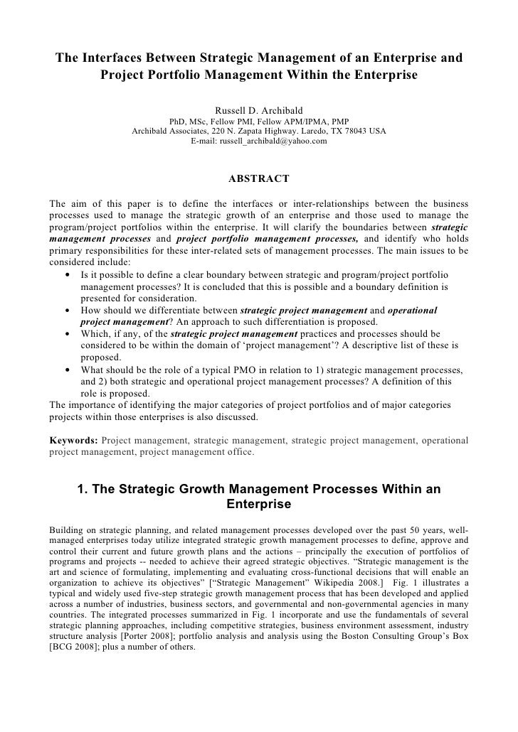 The Interfaces Between Strategic Management of an Enterprise and         Project Portfolio Management Within the Enterpris...