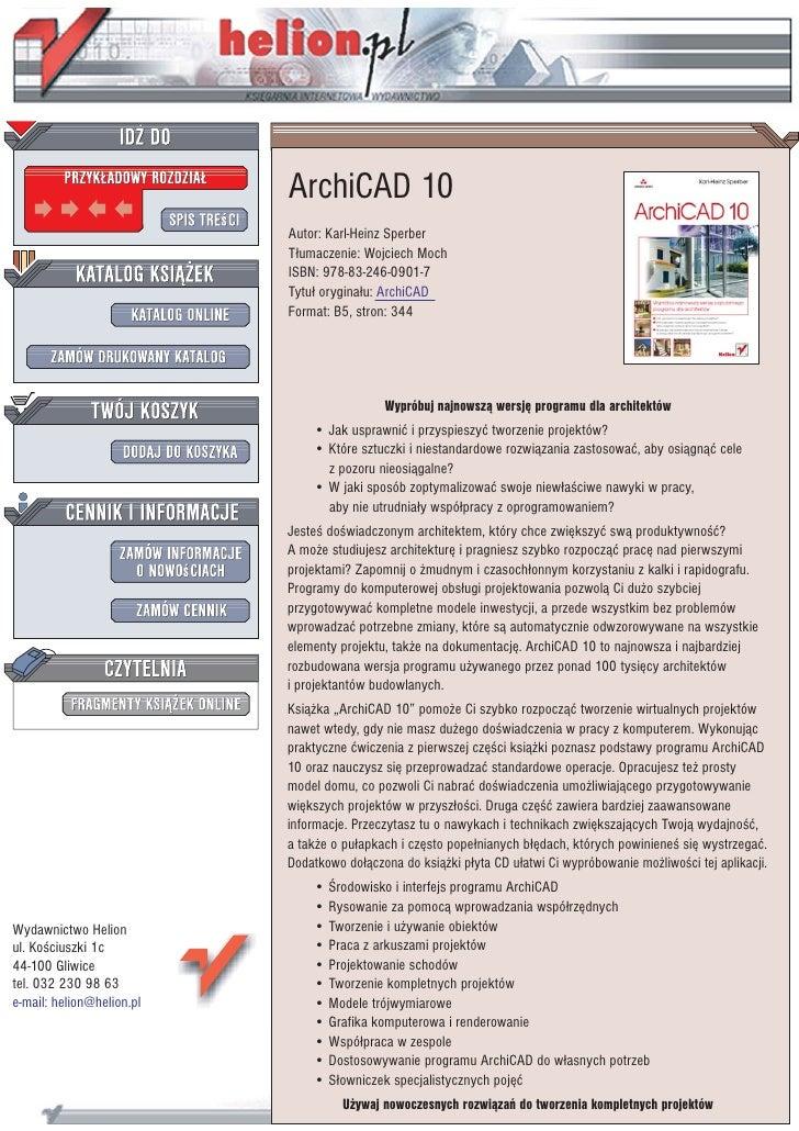 ArchiCAD 10                            Autor: Karl-Heinz Sperber                            T³umaczenie: Wojciech Moch    ...