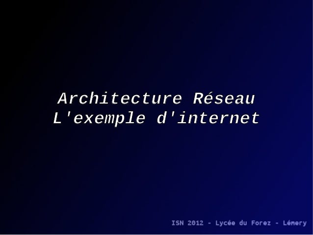 Architecture Réseau L'exemple d'internet