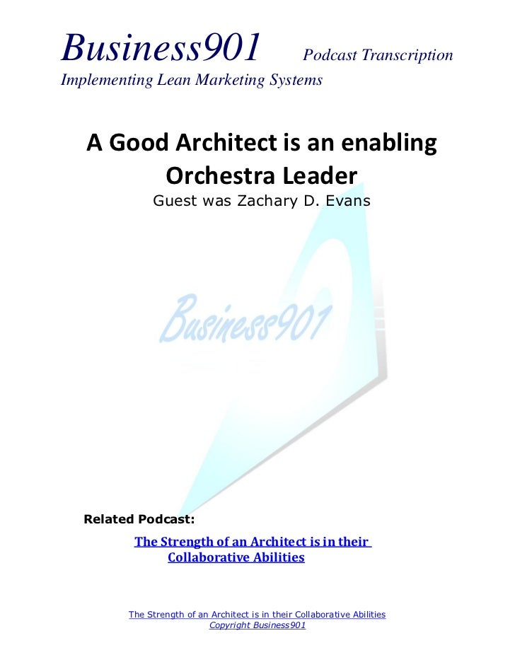 Architect is an Enabling Orchestra Leader