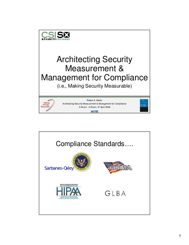 Architecting Security Measurement & Management for Compliance