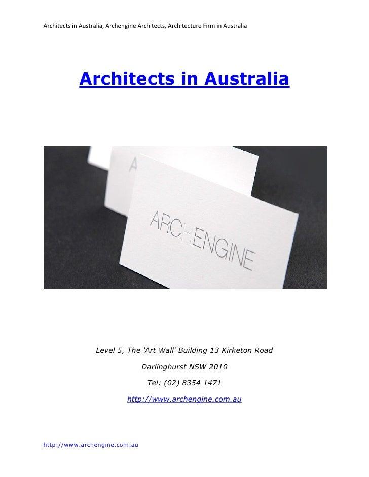 Architects in Australia, Archengine Architects, Architecture Firm in Australia             Architects in Australia        ...