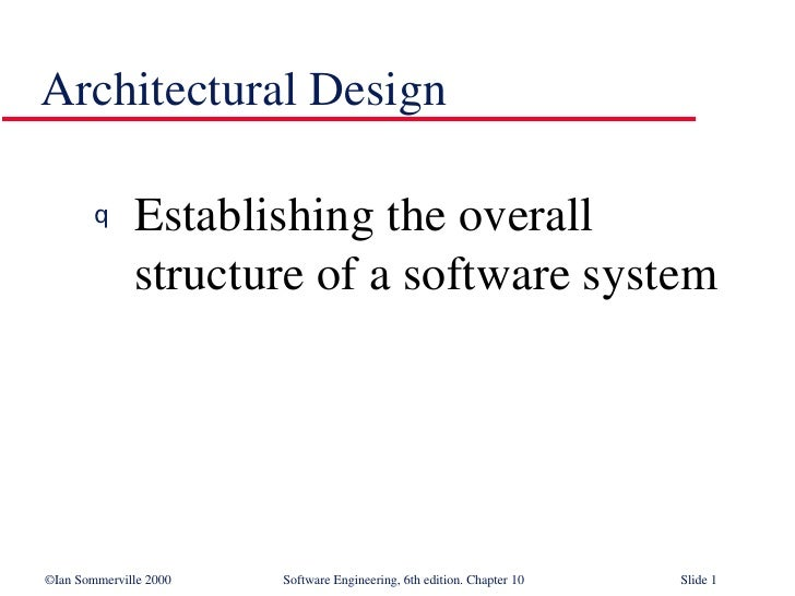 Architectural Design <ul><li>Establishing the overall structure of a software system </li></ul>