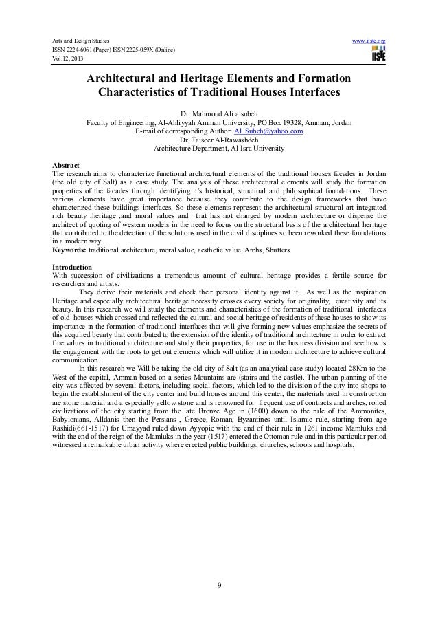 Arts and Design Studies ISSN 2224-6061 (Paper) ISSN 2225-059X (Online) Vol.12, 2013  www.iiste.org  Architectural and Heri...