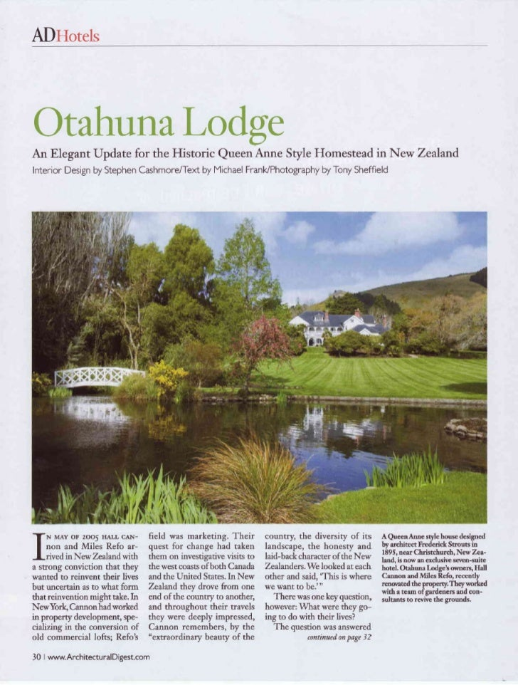 Architectural Digest July 2008 - Otahuna Luxury Lodge New Zealand