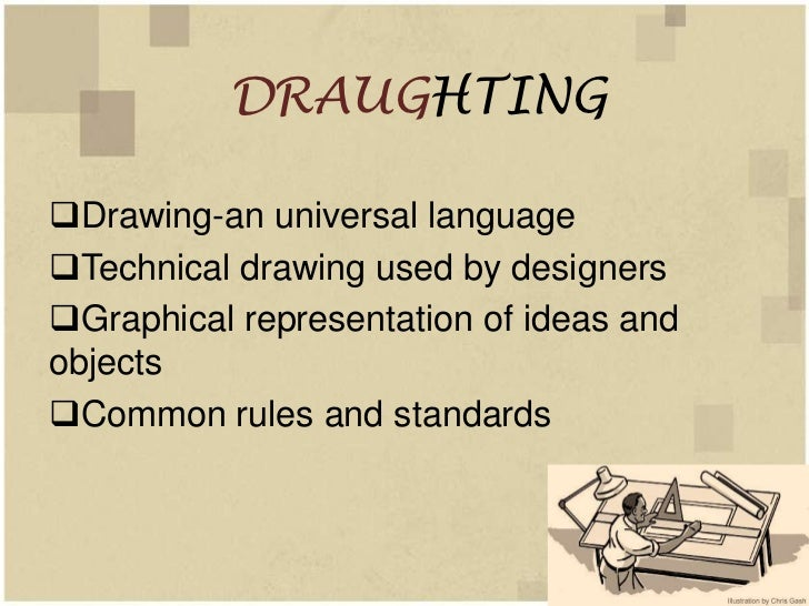 DRAUGHTINGDrawing-an universal languageTechnical drawing used by designersGraphical representation of ideas andobjects...