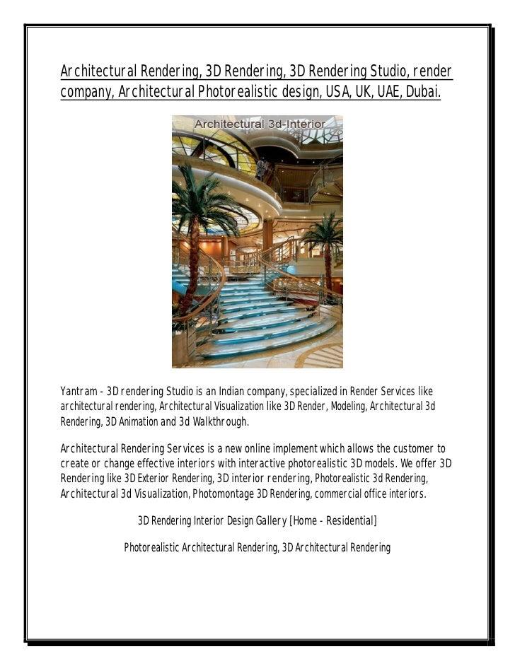 Architectural Rendering, 3D Rendering, 3D Rendering Studio, render company, Architectural Photorealistic design, USA, UK, ...