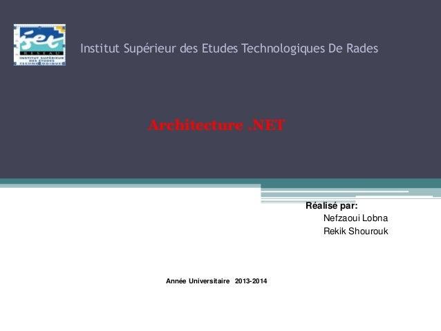 Institut Supérieur des Etudes Technologiques De Rades Architecture .NET Réalisé par: Nefzaoui Lobna Rekik Shourouk Année U...