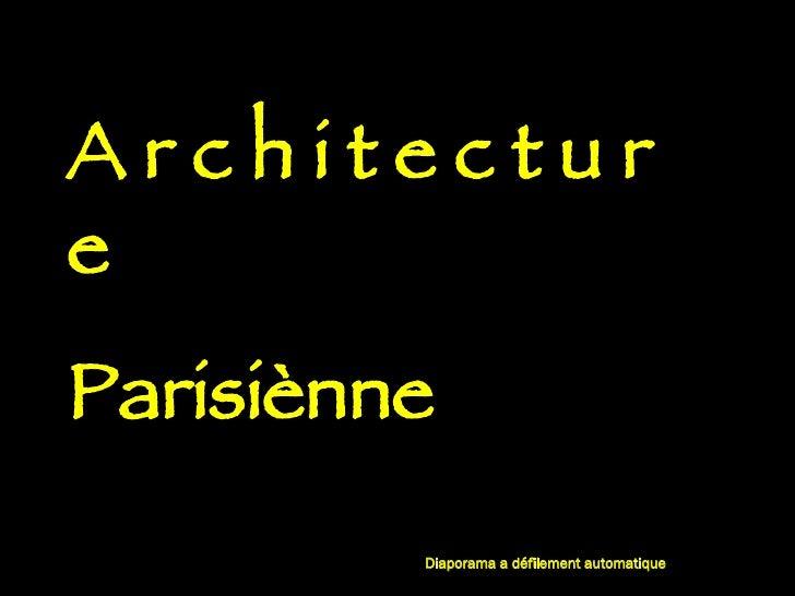 Architecture Parisinne