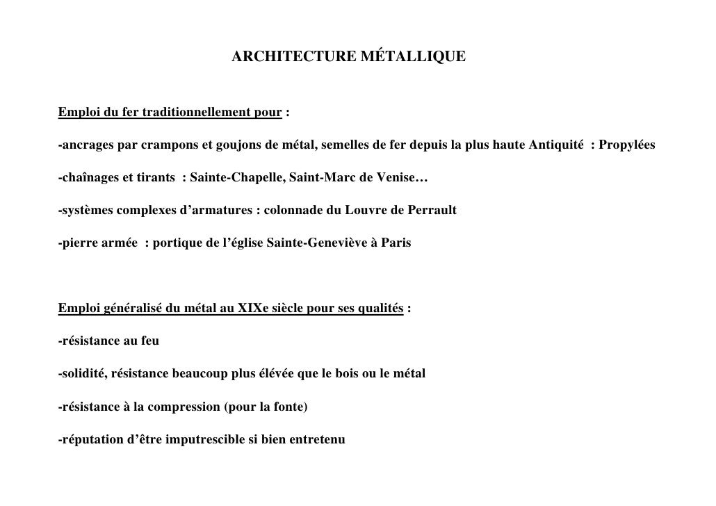 Architecture metallique