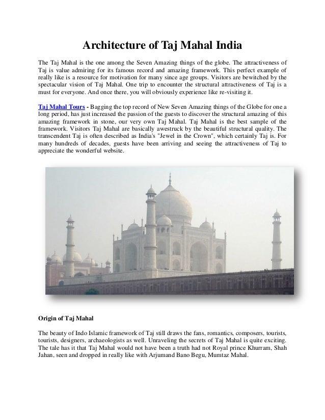 Architecture of taj mahal india