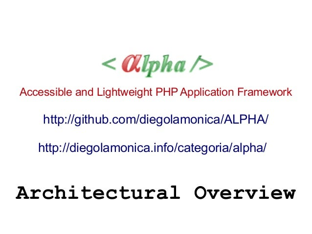 Accessible and Lightweight PHP Application Framework http://github.com/diegolamonica/ALPHA/ http://diegolamonica.info/cate...