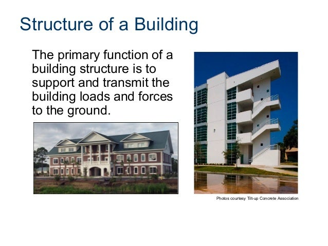 Structure of a Building The primary function of a building structure is to support and transmit the building loads and for...
