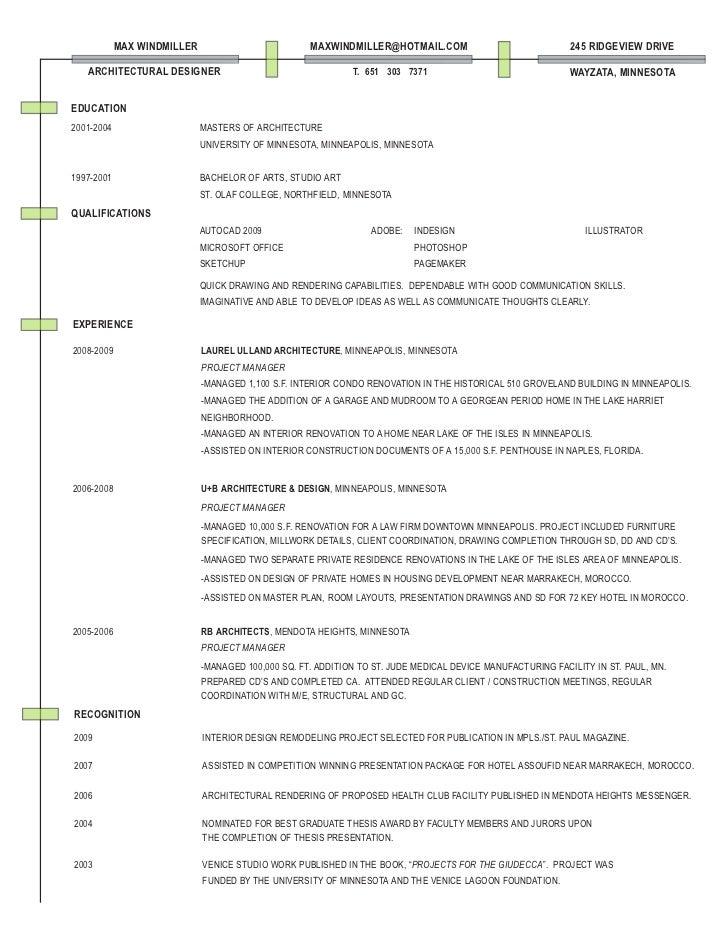 architecture resume