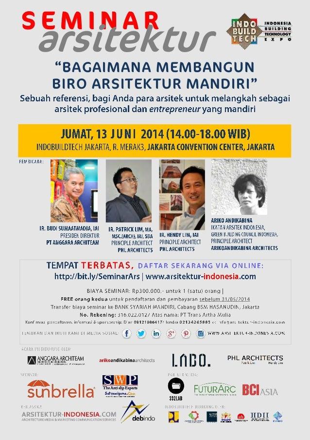 UNDANGAN SEMINAR ARSITEKTUR (Indobuildtech Jakarta, 13/06/2014)