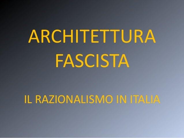 Architettura Fascista
