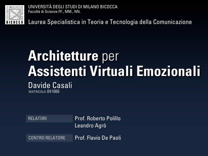 Architetture per Assistenti Virtuali Emozionali