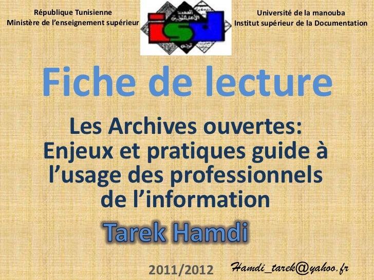 République Tunisienne                               Université de la manoubaMinistère de l'enseignement supérieur         ...