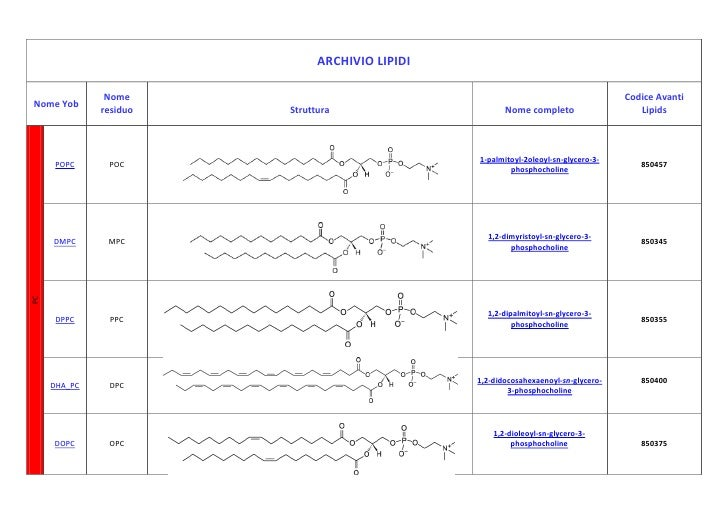 ARCHIVIO LIPIDINome YobNome residuoStrutturaNome completoCodice AvantiLipidsPCPOPCPOC1-palmitoyl-2oleoyl-sn-glycero-3-phos...