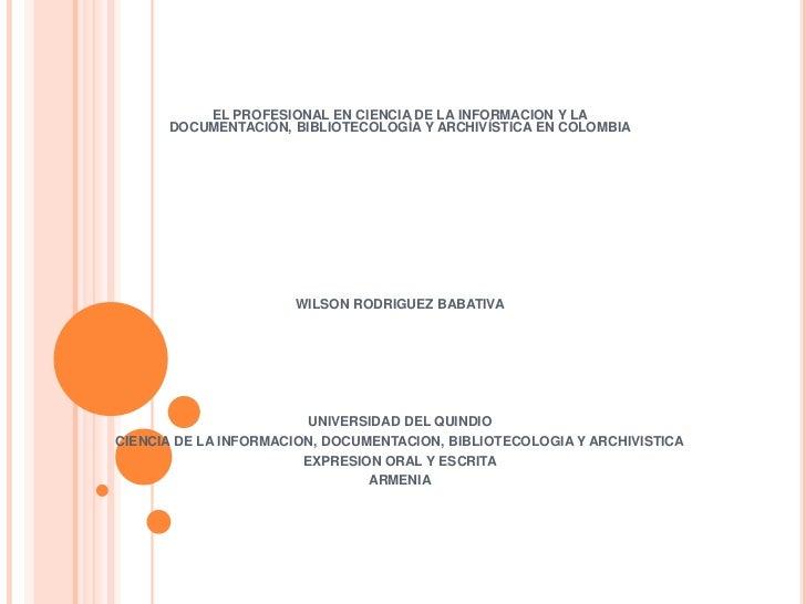 Archivistica y bibliotecologia