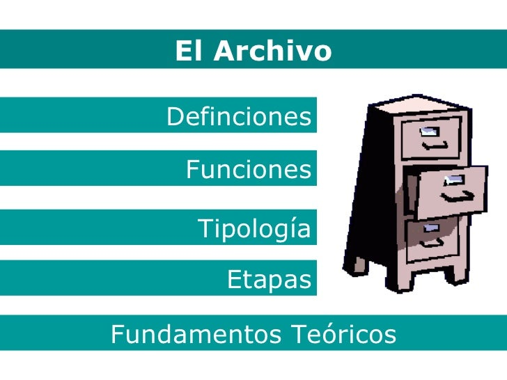 El Archivo El Archivo Definciones Funciones Tipología Etapas Fundamentos Teóricos