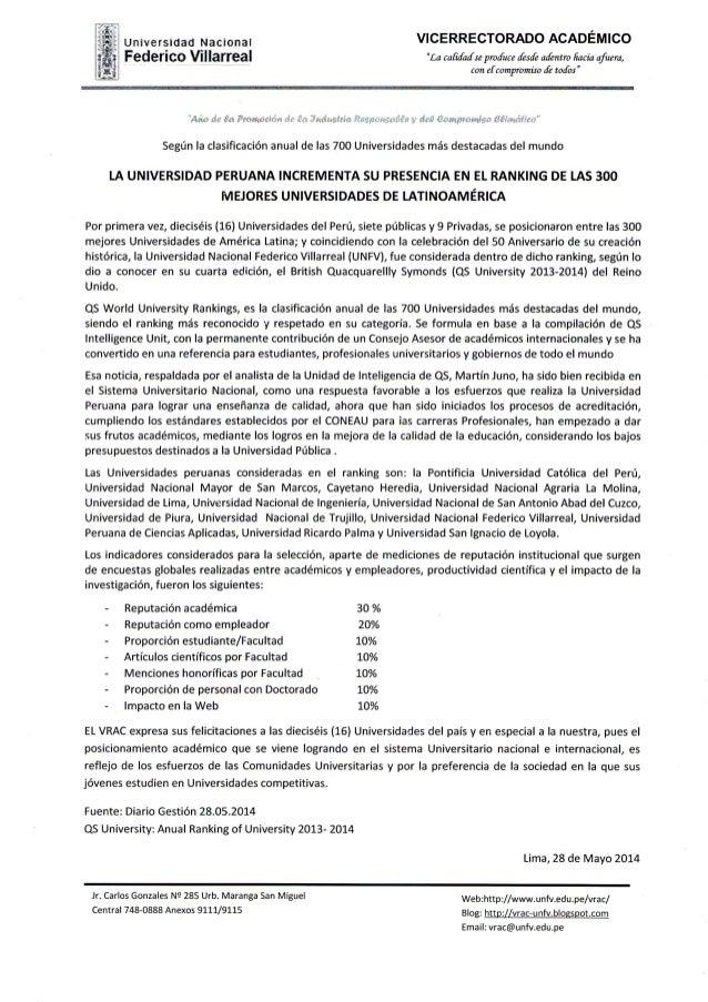 LA UNIVERSIDAD PERUANA INCREMENTA SU PRESENCIA EN EL RANKING DE LAS 300 MEJORES UNIVERSIDADES DE LATINOAMERICA