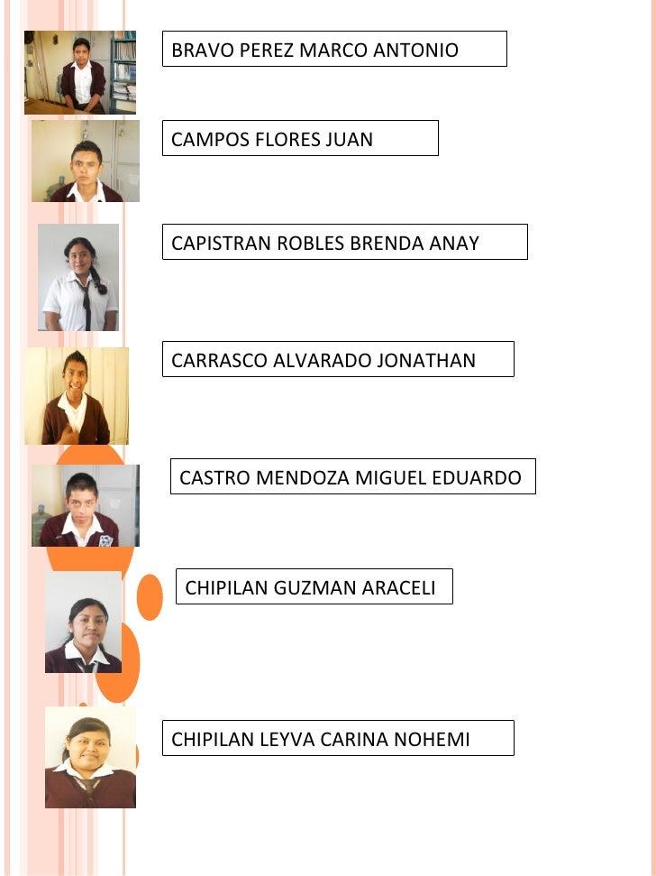 CASTRO MENDOZA MIGUEL EDUARDO  CHIPILAN GUZMAN ARACELI BRAVO PEREZ MARCO ANTONIO CAMPOS FLORES JUAN  CAPISTRAN ROBLES BREN...