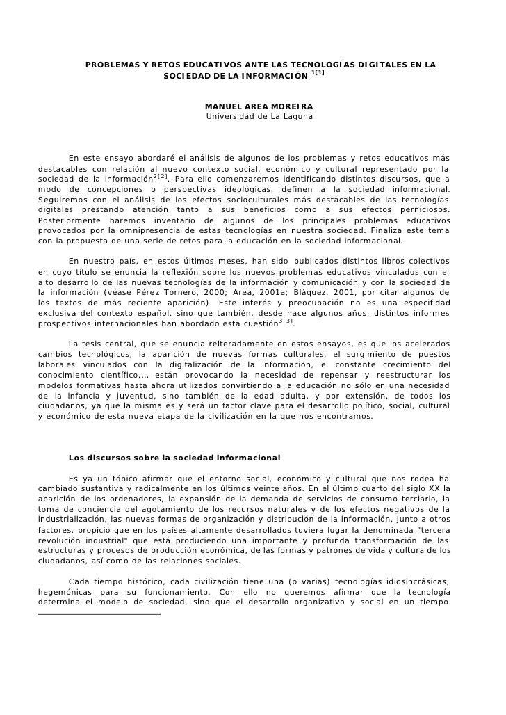 PROBLEMAS Y RETOS EDUCATIVOS ANTE LAS TECNOLOGÍAS DIGITALES EN LA                          SOCIEDAD DE LA INFORMACIÓN 1[1]...