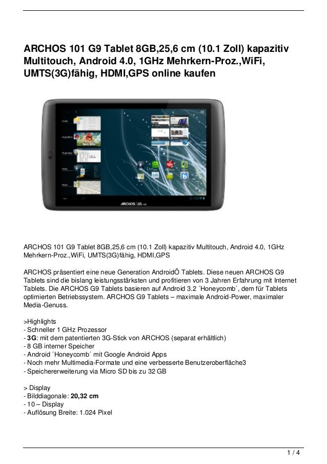 ARCHOS 101 G9 Tablet 8GB,25,6 cm (10.1 Zoll) kapazitivMultitouch, Android 4.0, 1GHz Mehrkern-Proz.,WiFi,UMTS(3G)fähig, HDM...