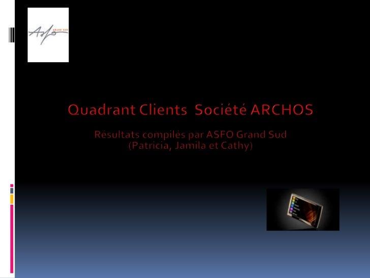 Quadrant Clients  Société ARCHOS<br />Résultats compilés par ASFO Grand Sud (Patricia, Jamila et Cathy)<br />