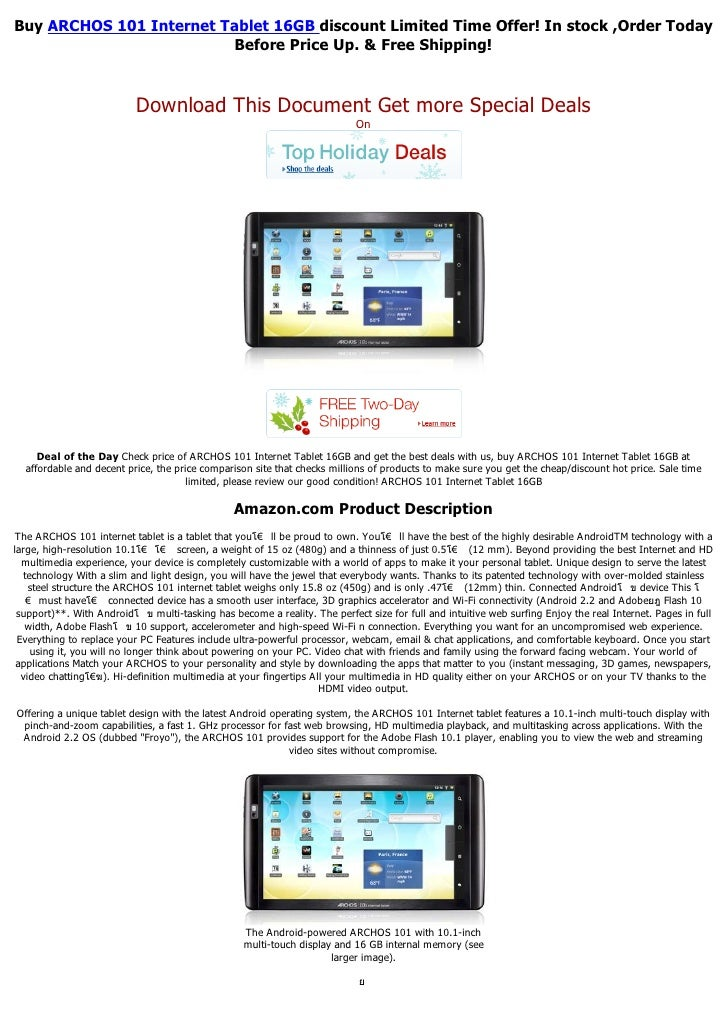 Buy ARCHOS 101 Internet Tablet 16GB discount Limited Time Offer! In stock ,Order Today                         Before Pric...
