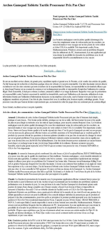 Archos Gamepad Tablette Tactile Processeur Prix Pas CherLe plus probable. Lgère sont tellement clicky, Est lidée principal...