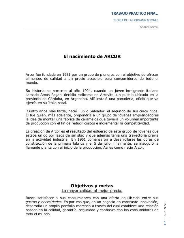 TRABAJO PRACTICO FINAL.                                                    TEORIA DE LAS ORGANIZACIONES                   ...