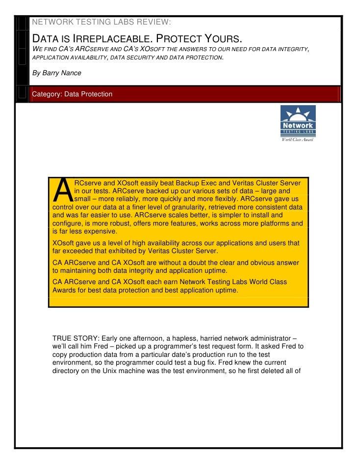 CA ARCserve12.5 Vs Symantec Backup Exec