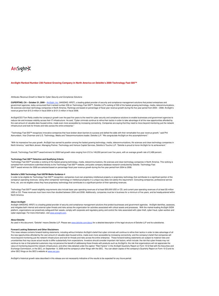 Arc Sight Info Documents 10 21 2009
