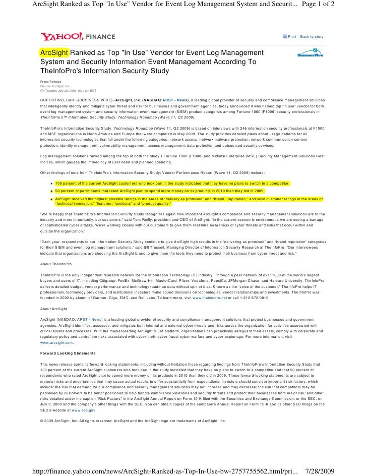 """ArcSight Ranked as Top """"In Use"""" Vendor for Event Log Management System and Securit... Page 1 of 2                         ..."""